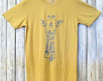 Mens Graphic Tee, GIRAFFE T shirt, Bamboo & Organic Cotton Tshirt, Gift for Him by Uni-T