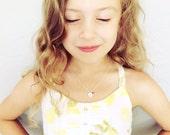 Little Girl/Kids Birthstone Necklace, Birthstone/Initial Necklace, Flower Girl Necklace, Child's Birthstone Necklace, Initial Necklace