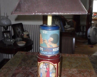 custom lamp made from tin canisters