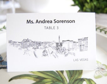 Las Vegas Skyline Place Cards Personalized with Guests Names (Sold in sets of 25 Cards)