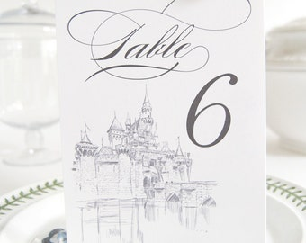 Disney Inspired Fairytale Wedding, Castle Skyline Table Numbers (1-10)
