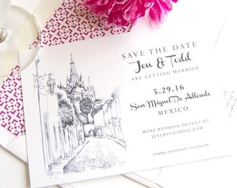 San Miguel, Mexico Skyline Destination Wedding Save the Date Cards (set of 25 cards)