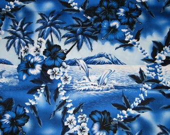 BTY TROPICAL Blue, White Palm Trees & Dolphin Scenic Print 100% Cotton Quilt Craft Shirting Fabric by the Yard