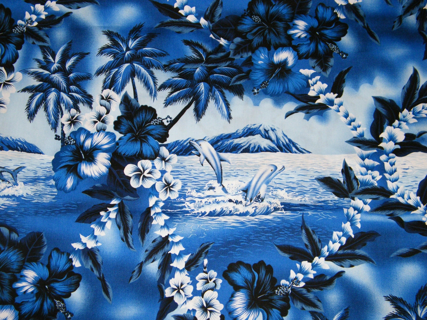 Bty Tropical Blue White Palm Trees Amp Dolphin Scenic Print