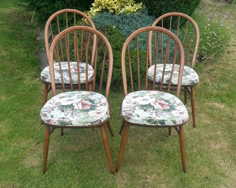 SOLD  Beautiful set of 4 Ercol dining chairs with original cushions all in excellent condition