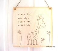 Handmade wooden giraffe sign   giraffe art   wood burning   pyrography   giraffe gift