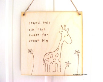 Handmade wooden giraffe sign | giraffe art | wood burning | pyrography | giraffe gift