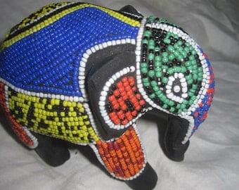 Ebony Wood Beaded Miniature Elephant