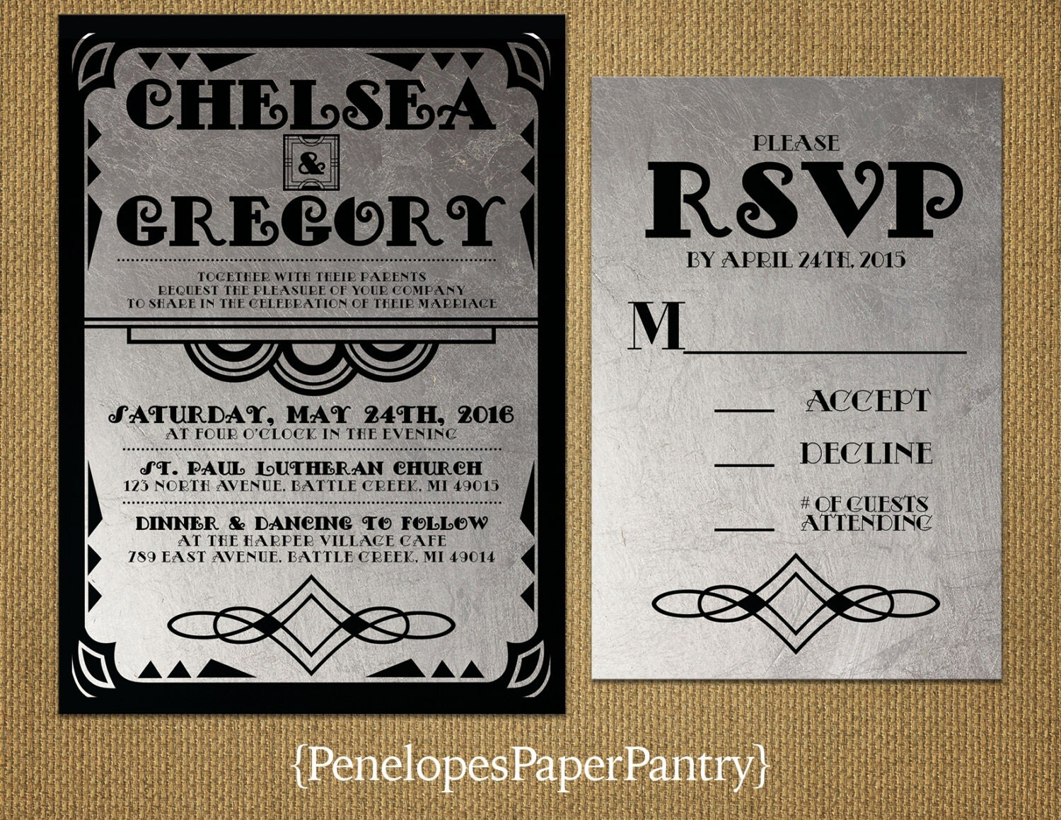 Black And Silver Wedding Invitations: Black And Silver Wedding Invitations Art By