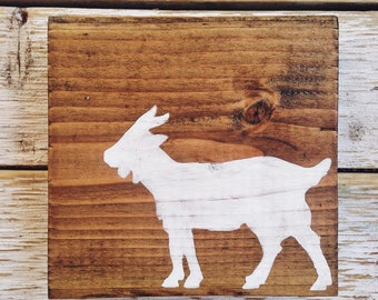Hand painted goat sign on reclaimed wood