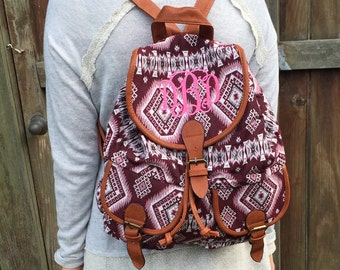 Monogrammed southwest hippie backpack
