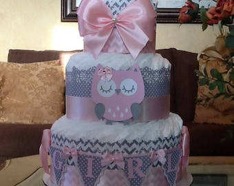 Owl diaper cake/Pink and grey owl diaper cake/girl diaper cake/Owl baby shower centerpiece/Gift