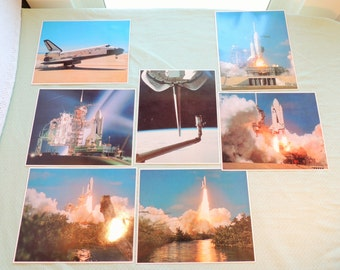 Set of Seven NASA Space Program Collection Laser Photo Art of Space Shuttle Columbia's 2nd Flight
