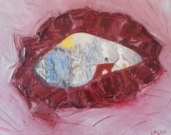 "Original oil painting by Nalan Laluk: ""Hole in the Pink Wall"""