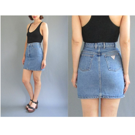 Vintage 90s GUESS XXS Denim Mini Skirt XS Vintage 1990s