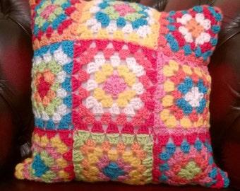 Rainbow Granny Squares Crochet Cushion