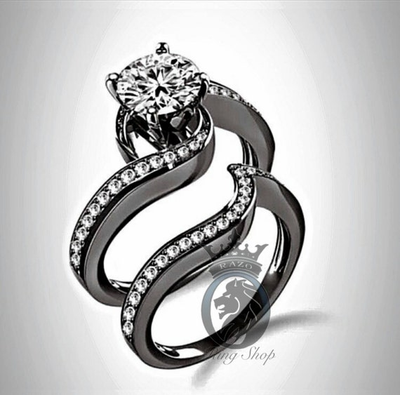 black rhodium swirl engagement ring bridal set by