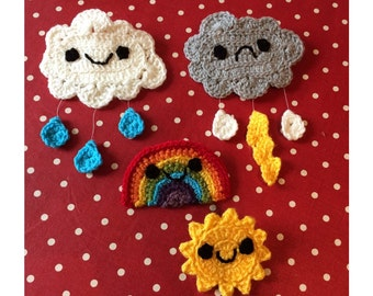 Fun, quirky kawaii brooches. These cute little badges are hand crocheted and are a perfect little accessory to any outfit, bag, scarf, etc.