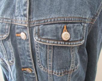 15-0832 Vintage 1990's Old Navy Denim Jacket / Denim Jacket / Blue Jean Jacket / Size L / Jean Jacket / American Vintage