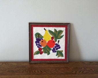 Needlepoint Fruit Wall Art - Vintage Framed Fruit Art