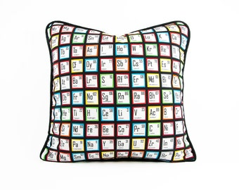 Periodic Table Pillow Cover With Black Piping, Science Teacher Gift, Chemistry Student, Dorm Décor, Science Geek Cushion,  Chemistry Décor