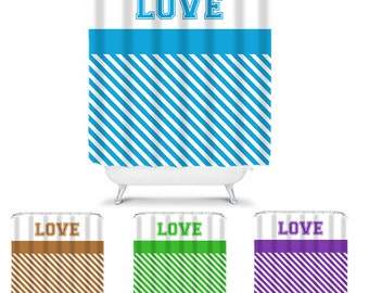 Striped Shower Curtain LOVE Stripes Modern Home Decor Shower Curtain ANY COLOR
