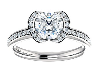 14k White Gold Engagement Ring - 1.28ctw Round Cut Forever Brilliant Moissanite and Diamonds