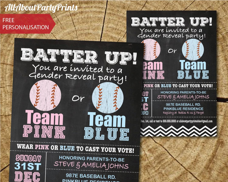 baseball theme gender reveal baby shower party invitation