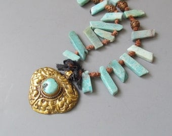Charming Vintage Repoussee, Turquoise, knotted Sari Silk and Amazonite, Artisan made by Bianca