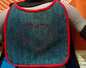 Embroidered heart jean baby bib