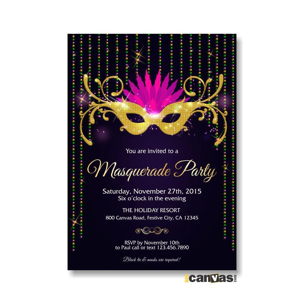 Mardi Gras Masquerade Invitation. Mardi Gras Mask Invitation.