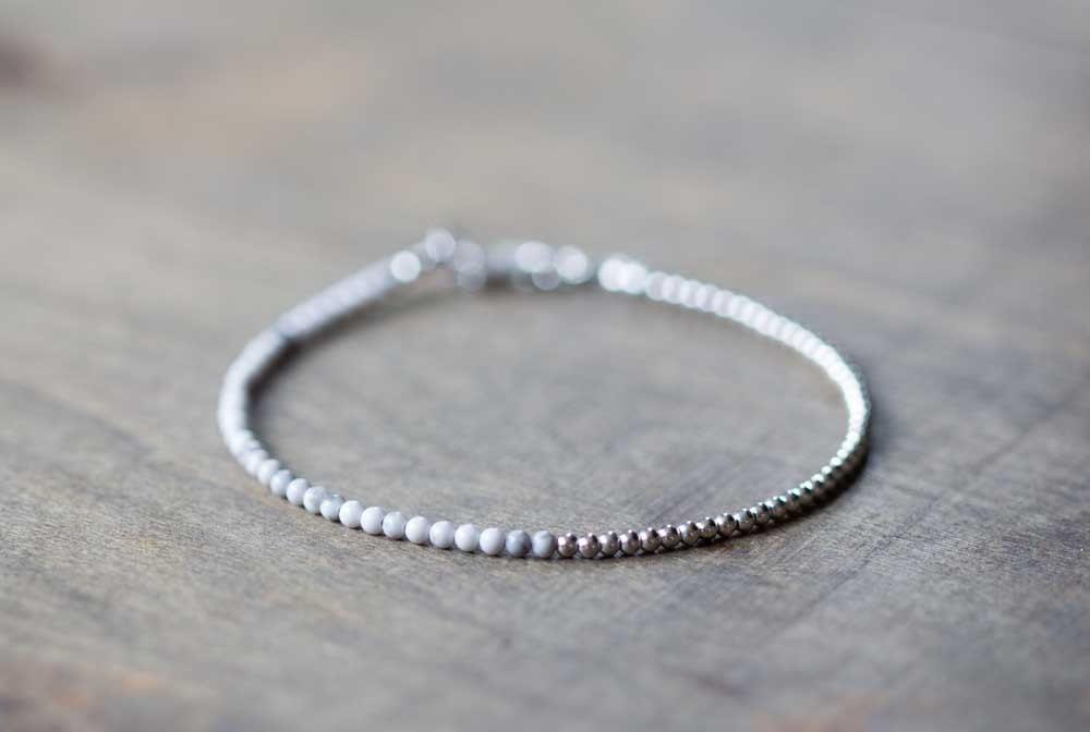 Ultra Delicate White Howlite Bracelet Sterling by ...
