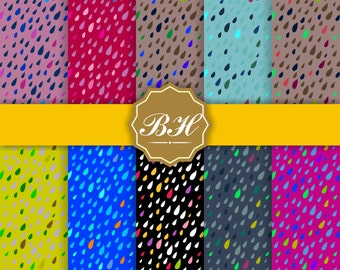 Weather Digital Paper, Rain Drops Digital Paper, Rain Background, Raindrop Scrapbooking Paper, Water, Commercial Use, Instant Download