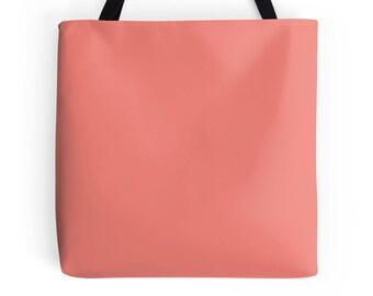 Coral Tote Bag, Coral Bag, Coral Purse, Coral Tote, Coral Bookbag