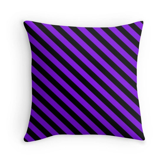 Purple And White Decorative Pillows : Purple Stripe Pillow Purple Decorative Pillow Purple Black