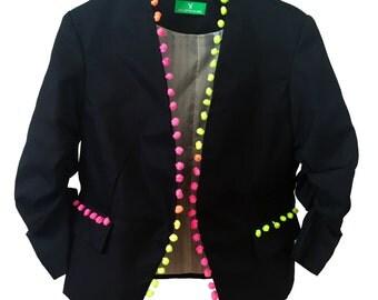 Tribal pompom jacket. pom pom blazer, festival pompom jacket