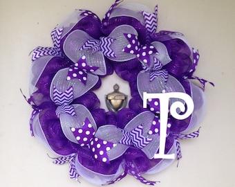Purple Polka Dot and Chevron Deco Mesh Wreath