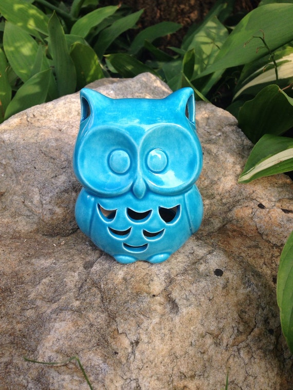 Items similar to small owl statue glazed owl garden for Garden accessories canada