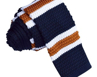 Men's Knitted Navy with White & Copper Stripe Tie