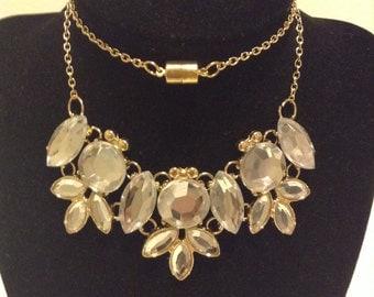 Gold Crystal Bib Necklace, Gold Bib Necklace, Crystal Bib Necklace