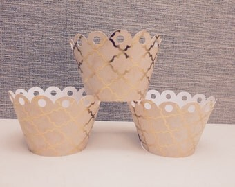 Blush Pink & Gold Foil Cupcake Wrappers - 24 Ct.
