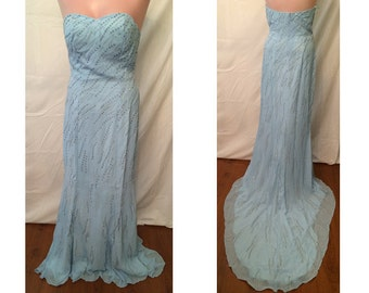 Strapless blue dress with train # 7509