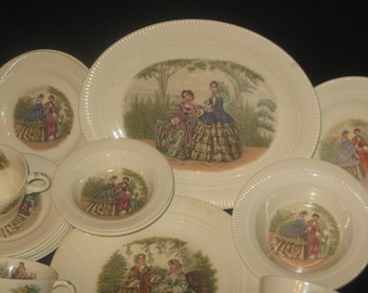 Salem China Company 1950'S Godey Print Of Victorian Scene/ Vintage Dinnerware/Ceramics/Godey Print On China Victorian Ladies