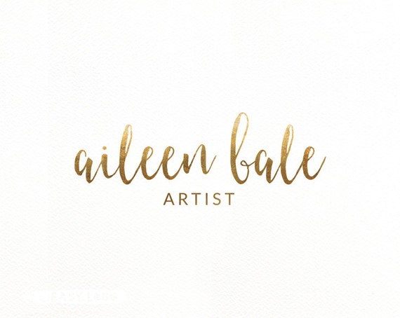 Simple gold calligraphy logo design watercolor brush by