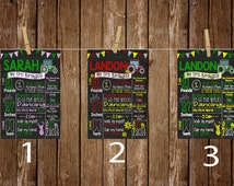 Pick between 3 Birthday Chalkboard, Pink Tractor, Red Tractor, Green Tractor, Farm Birthday Poster, Any Age, First Birthday Board