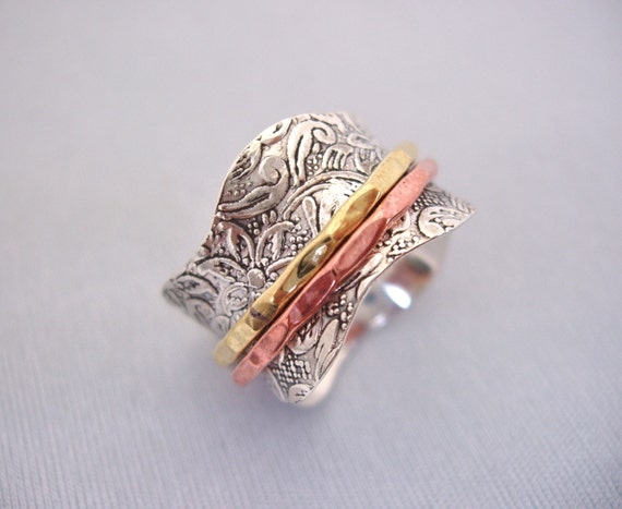 sterling silver meditation spinning ring with 1 brass 1
