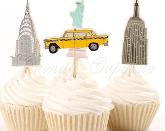 12 Set New York Cupcake Picks,Cake, Toppers, Picks, Party Picks