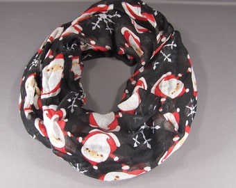 Santa Claus Christmas scarf lightweight gauzy infinity long circle loop cowl figure 8 Black Red White winter snowflake