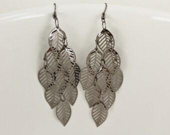 "Pewter Grey chandelier filigree leaf leaves earrings dangle cut out pattern lightweight 4"" long big"