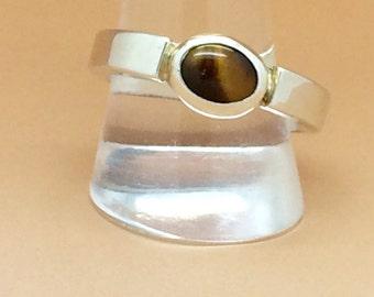 Sterling Silver Mens TigersEye Ring Hallmarked.